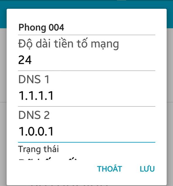 cài đặt DNS trên android